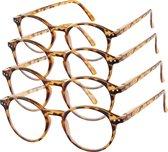 Etos Leesbril Rond Bruin +3 - 4 stuks