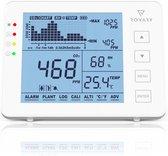 Rovary CO2 meter - Inclusief E-book – Luchtkwaliteitsmeter – CO2 meter binnen – CO2 melder & monitor – draagbaar en oplaadbaar – Met alarm