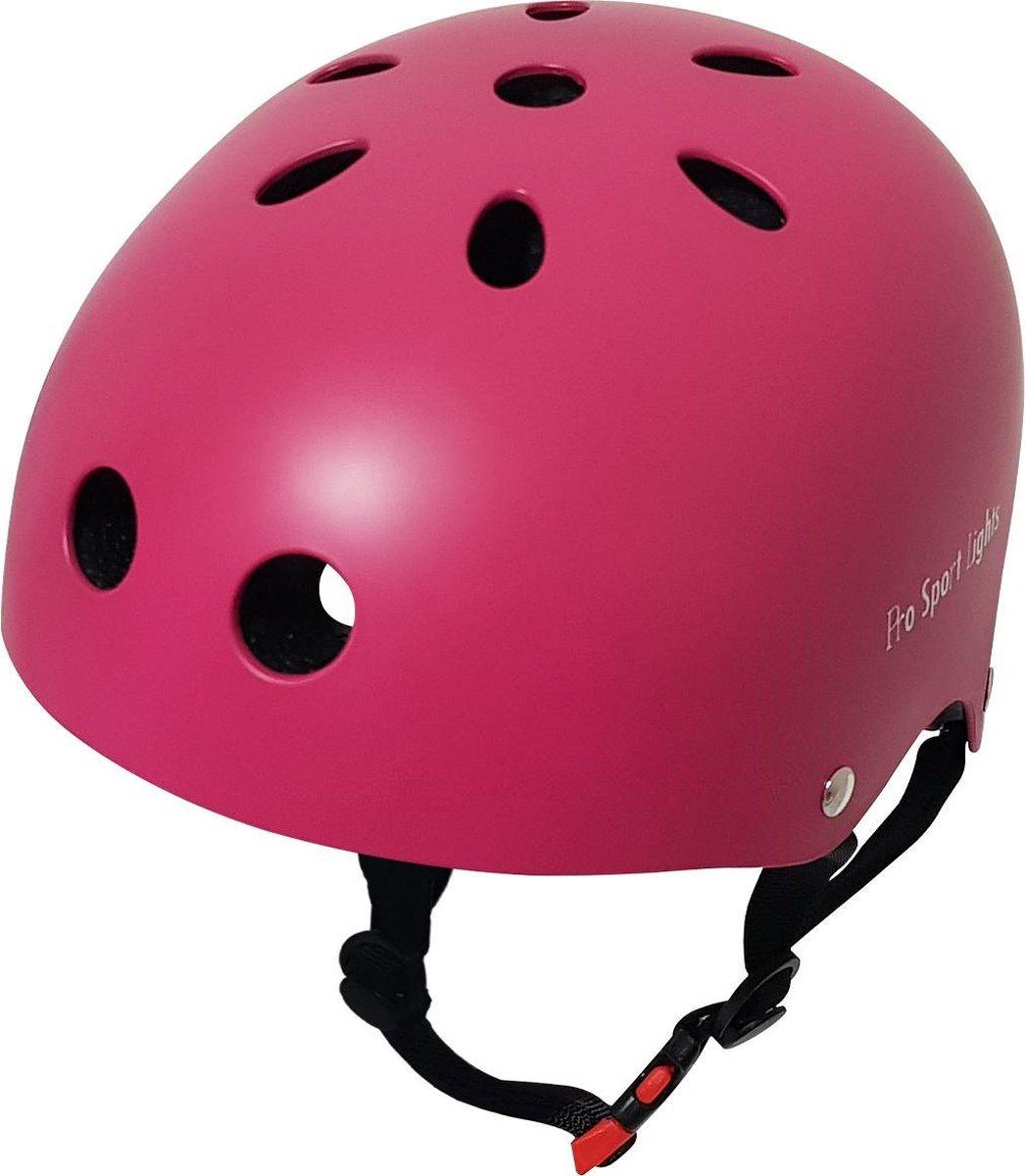 Kinderfietshelm Pro Sport Lights - skate Fietshelm voor kinderen - Pink - kinderhelm 50 - 56 cm