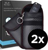 JML Luxe RFID Elektromagnetische Afscherming Sleutelhoes  2 stuks - Autosleutel Signaal Afscherming - Keyless Go en Keyless Entry - Signaal Blokkerende Beschermhoes - Draadloze Autosleutels - Beschermhoesjes Autosleutel - Auto Sleutel Etui