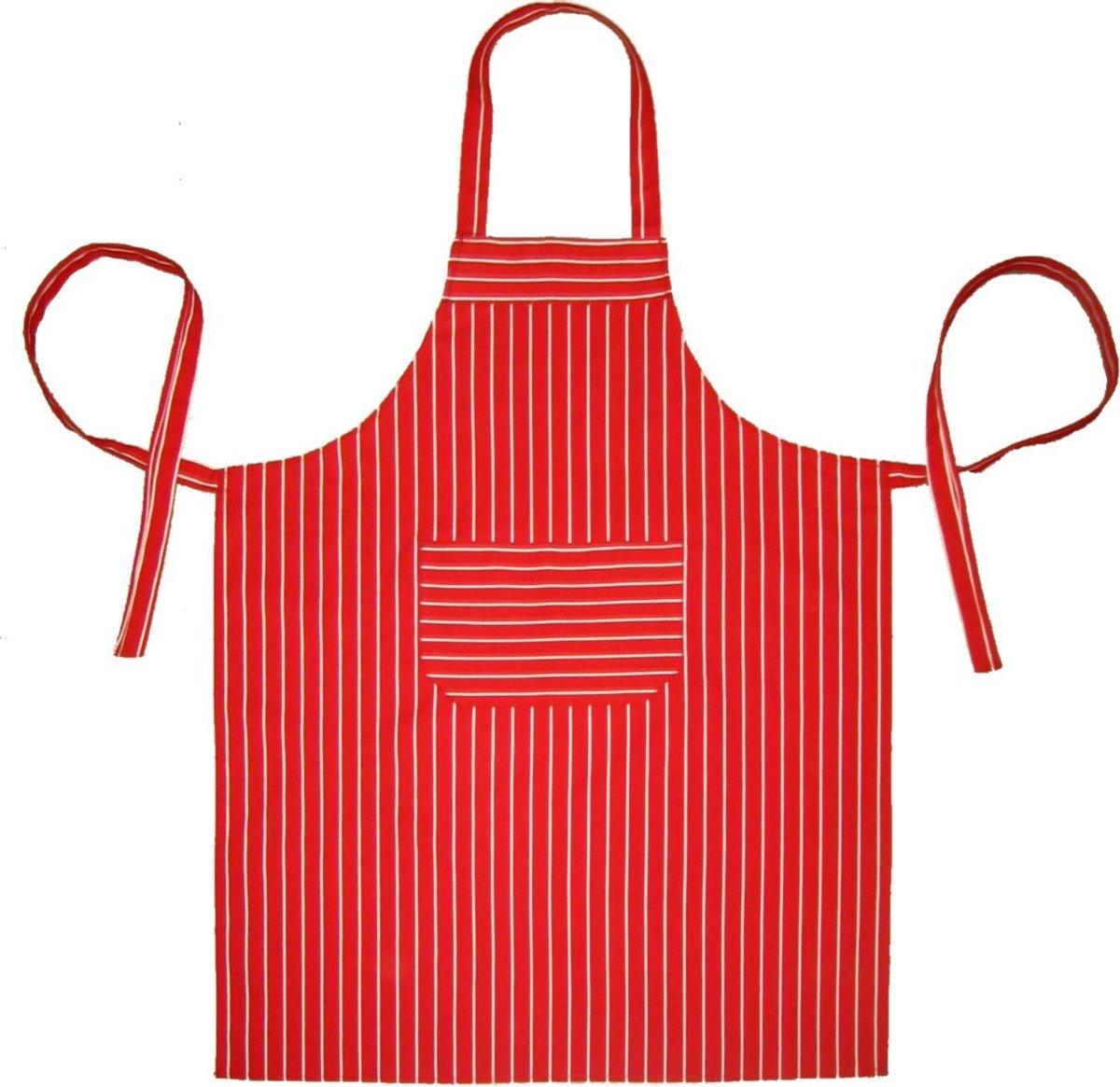 Homéé® Horeca suite Keukenschorten BBQ BIB Apron - rode streep - 70x100 cm - 2 stuks