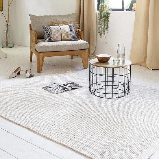 Wollen Vloerkleed - Industrieel Scandinavisch Design - Modern Vloer Tapijt - Voor Woonkamer/Slaapkamer - Wit - 140x200 Groot
