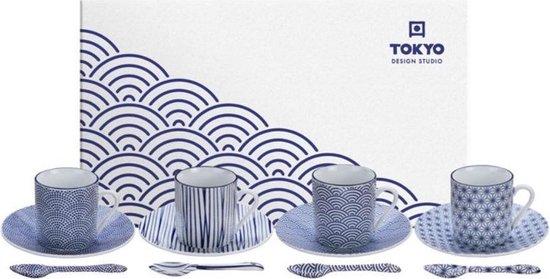 Tokyo Design Studio Nippon Blue Espresso Serviesset- 4 personen - 12 stuks - Porselein