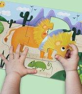 Pinwheel hoge kwaliteit Mijn Eerste Lange Puzzel 94*21CM 30 extra grote en dikke stuks - Dieren uit Verschillende Continenten: Olifant + Leeuw + Egel + Zeehond - Vloer puzzel voor 2 jaar+ - Vloer puzzel voor Peuter vanaf 2 jaar