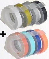 DESQ® SET Lettertapes 9 mm | 8 stuks | 3mtr per rol| Baby Roze, Mint, Baby Blauw, Oranje, Zwart, Zilver, Goud en transparant | Voor Dymo Junior/Omega en DESQ 5001
