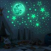 Glow in the dark sterren, 436 stuks, 30 cm maan Kinderkamer decoratie, maan stickers, sterren stickers, punten, zelfklevend, sterrenhemel, glow in the dark stars, babykamer, sinterklaas - kerst
