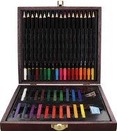 WDMT™ Houten teken- en kleurkist   40-delig   Multicolor   Hout