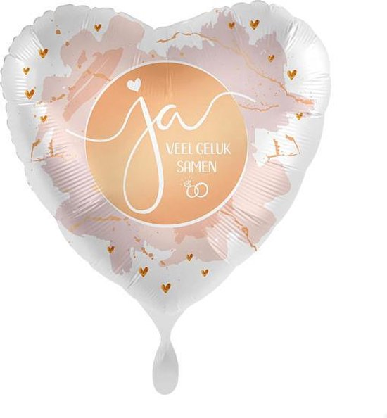Everloon - Folieballon hart - Ja, Veel Geluk Samen - 43cm - Voor huwelijk