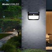 2 Stuks Solar Buitenverlichting met Bewegingssensor - 228 LED – Krachtige 2400 mAh batterij- Tuinlamp op Zonne-energie - Dag en Nacht sensor Tuinlamp.