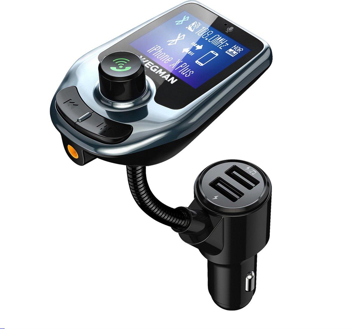 Wegman Bluetooth FM Transmitter - Carkit - 2x Fast Charge USB poort - Autoradio