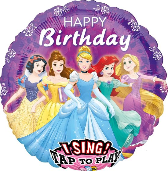 Amscan Folieballon Sing-a-tune Disney Princess 71 Cm Paars