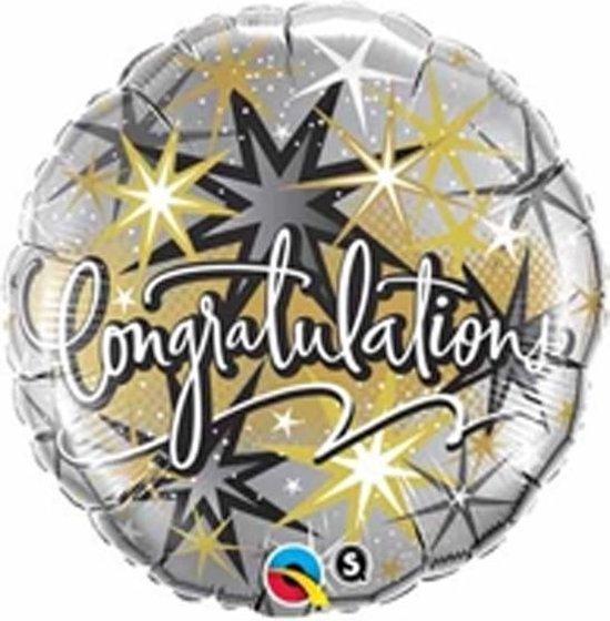 Folieballon Congratulations Goud Zilver 46 cm