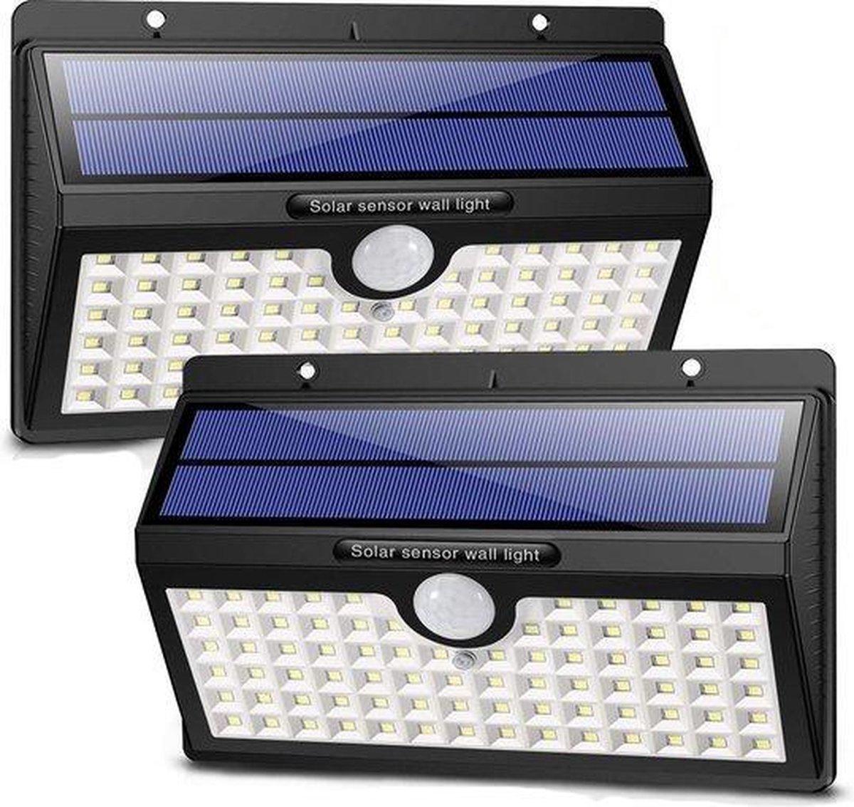 LifeGoods Solar Buitenlamp met Bewegingssensor - 78 LEDs - Wit Licht -Tuinverlichting op Zonneenergi