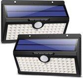 LifeGoods Solar Buitenlamp met Bewegingssensor - 78 LEDs - Wit Licht -Tuinverlichting op Zonneenergie - IP65 Waterdicht - Voor Tuin/Wand/Oprit - 2 Stuks