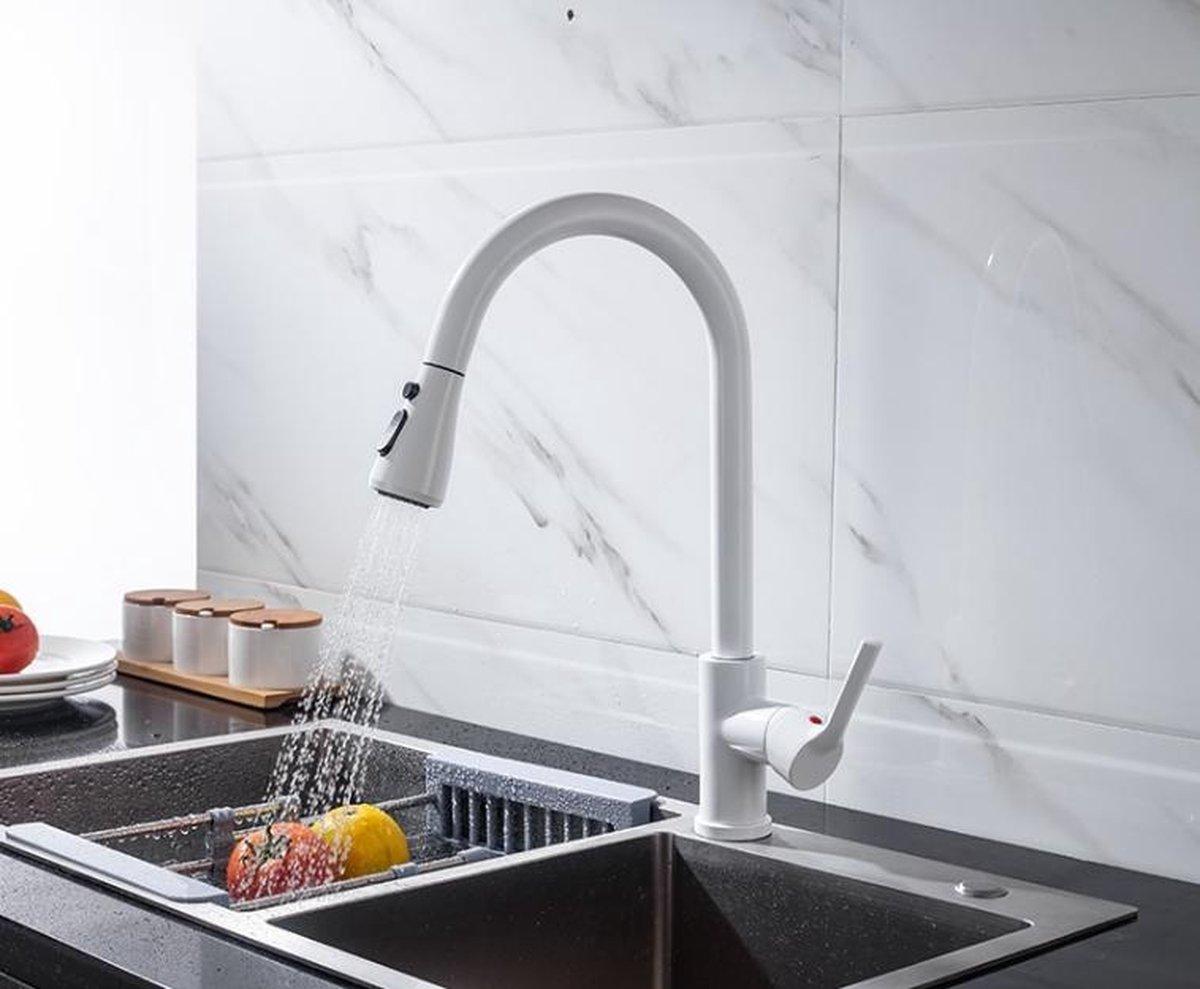 Productgigant - Draaibare keukenkraan - uittrekbare uitloop - sproeikop - wit