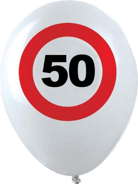 10x stuks Ballonnen 50 jaar verkeersbord versiering, Verjaardag