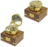 Kompasje in houten doos - Messing Kompas - Marine - 3.6 cm hoog