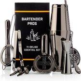 Cocktail Set Bartender Pros™ - Cocktail Shaker - 11-Delige Cocktailset - Boston shaker - Cocktailshaker - Zwart - RVS