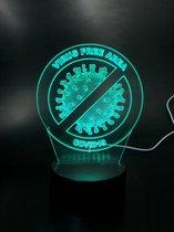 virus free area - covid19 - led lamp | diepte effect | 7 kleuren | afstandsbediening | 20cm