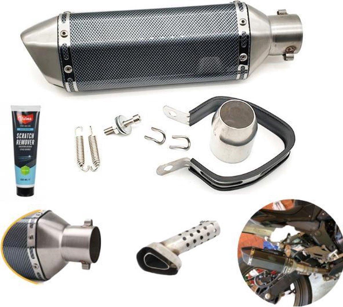 EFLO  370 MM Koolstofvezel Motor Demper met DB Killer - Inclusief Universele Pijp en Krassenverwijde