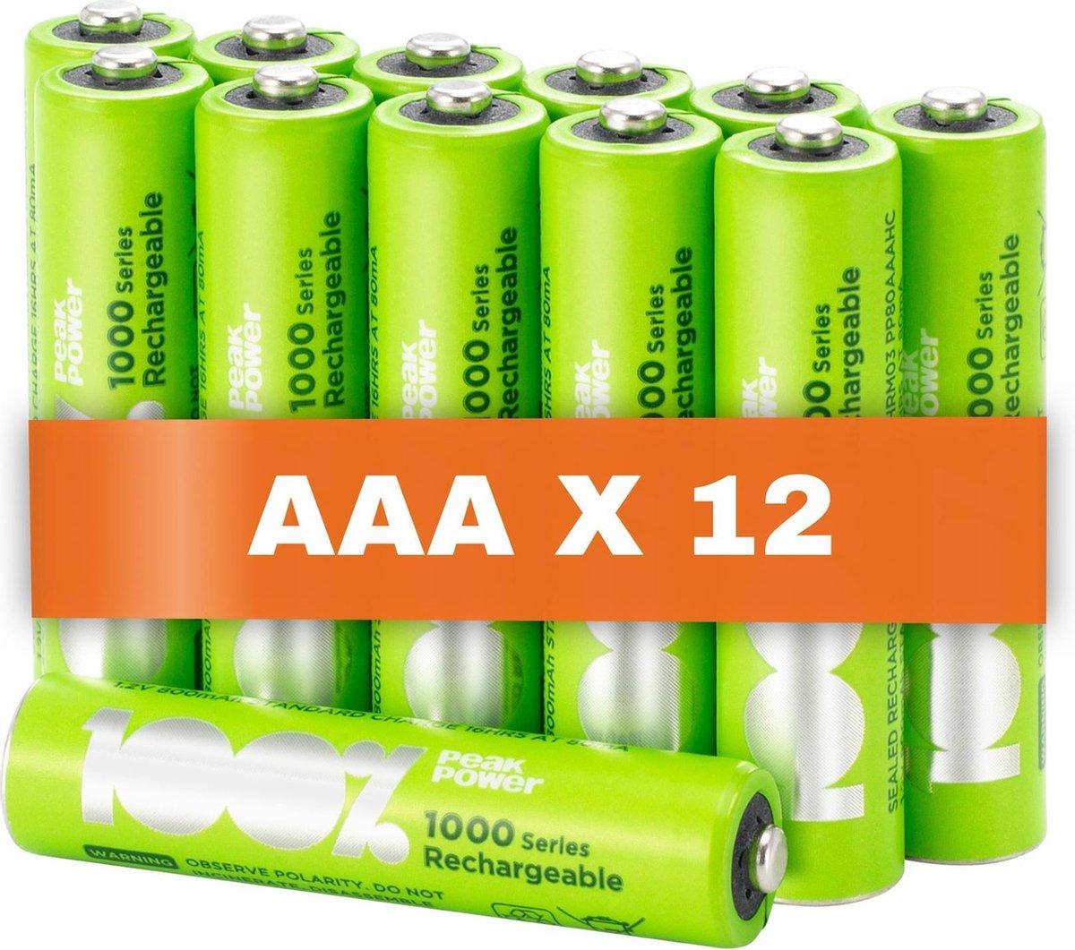 100% Peak Power oplaadbare batterijen AAA - Duurzame Keuze - NiMH AAA batterij micro 800 mAh - 12 st