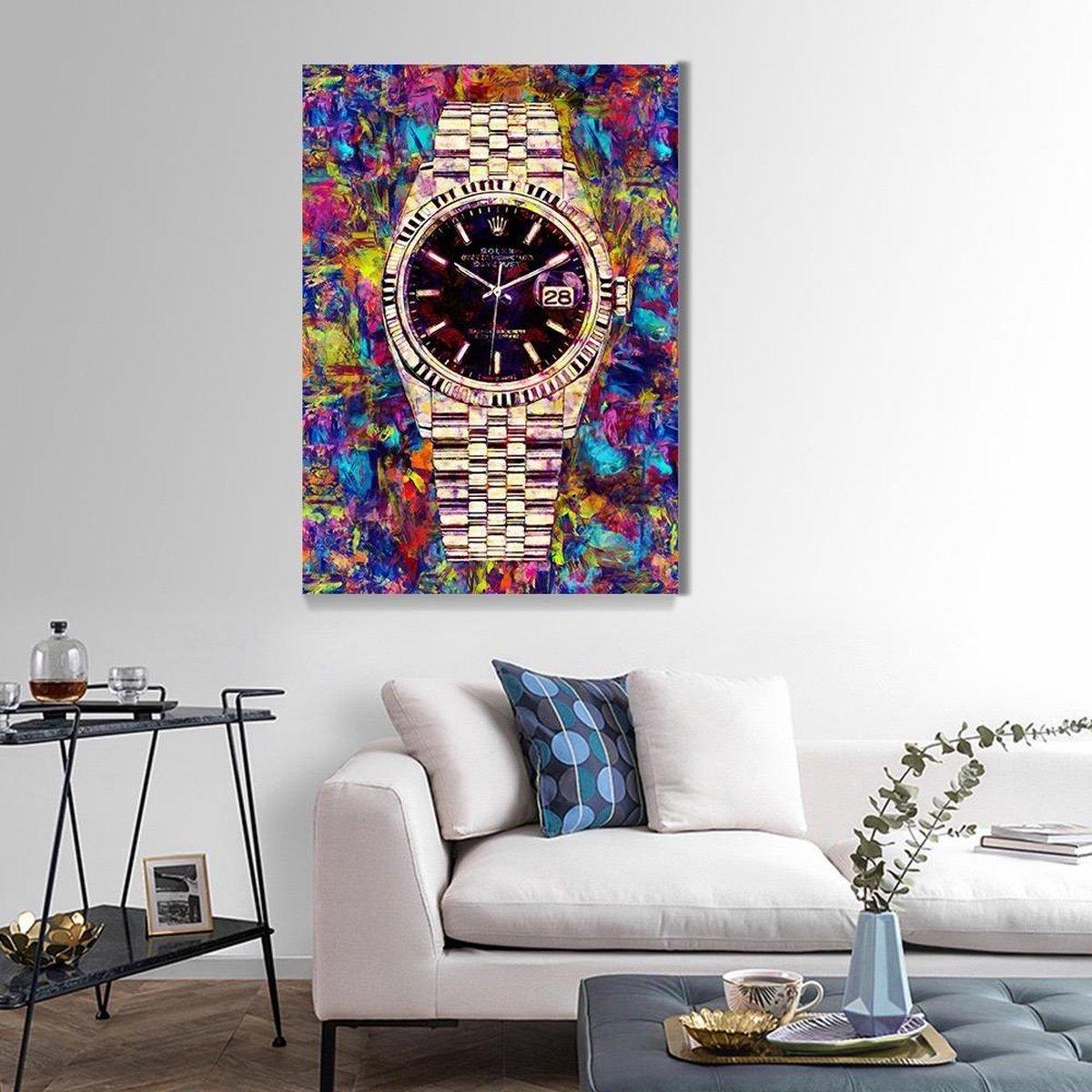 Rolex schilderij - Canvas poster - Canvas - Rolex - Schilderij - Poster - Premium decoratie - Huisdecoratie - 60x80cm - XL Canvas - Valentijn cadeau voor hem