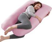 Litollo® Zwangerschapskussen XXL - Voedingskussen - Lichaamskussen - Body pillow - 280cm - Afneembare hoes - Roze