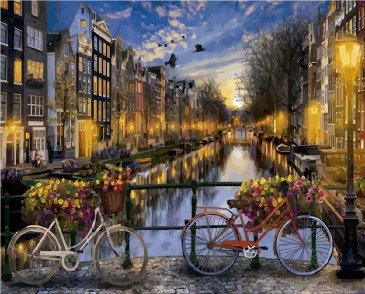 Rubye® Schilderen Op Nummer Volwassenen - Amsterdamse Gracht - Met Frame en Standaard - 40x50 cm