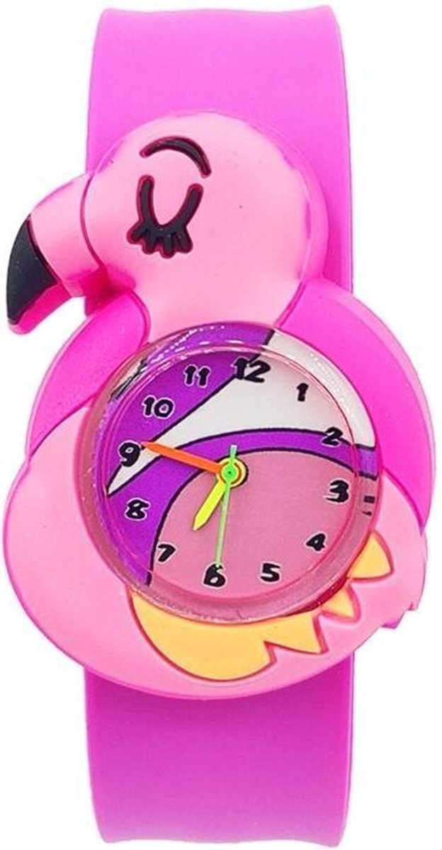 Flamingo horloge met slap on bandje