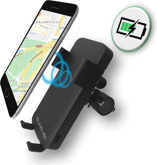 Telefoonhouder met geïntegreerde batterij en LED-hoofdlamp - langere levensduur van de batterij voor onderweg! Geschikt voor alle soorten fietsen, motoren, scooters en auto's. Past op alle smartphones.