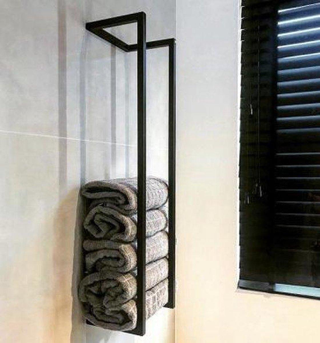 Barnwood Originals - Handdoekenrek Industrieel mat zwart - Handdoekhouder mat zwart - 95x20x25 cm mat zwart metaal