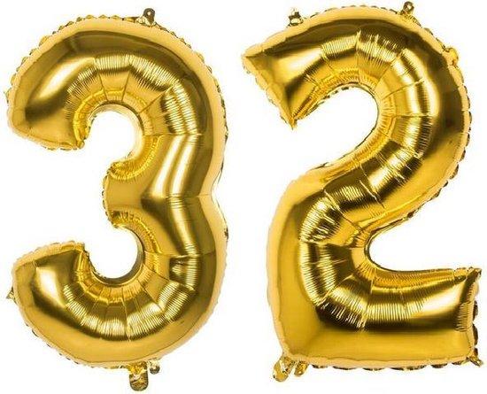 32 Jaar Folie Ballonnen Goud - Happy Birthday - Foil Balloon - Versiering - Verjaardag - Man / Vrouw - Feest - Inclusief Opblaas Stokje & Clip - XXL - 115 cm