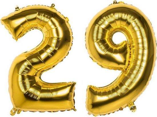 29 Jaar Folie Ballonnen Goud - Happy Birthday - Foil Balloon - Versiering - Verjaardag - Man / Vrouw - Feest - Inclusief Opblaas Stokje & Clip - XXL - 115 cm