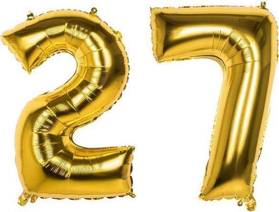 27 Jaar Folie Ballonnen Goud - Happy Birthday - Foil Balloon - Versiering - Verjaardag - Man / Vrouw - Feest - Inclusief Opblaas Stokje & Clip - XXL - 115 cm