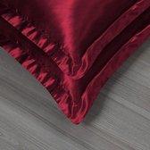 Beauty Silk - Kussenslopen - 60x70 - 2 stuks - Glans Satijn - Donker Rood