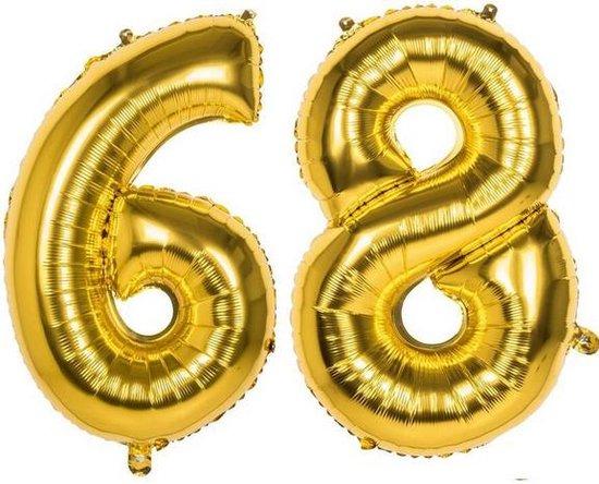 68 Jaar Folie Ballonnen Goud - Happy Birthday - Foil Balloon - Versiering - Verjaardag - Man / Vrouw - Feest - Inclusief Opblaas Stokje & Clip - XXL - 115 cm