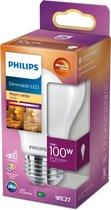 Philips LED lamp E27 Peerlamp Lichtbron - Warm wit - 12W = 100W - Ø 6 cm - Dimbaar - 1 stuk