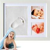 Frummel - Baby Fotolijstje met Klei Afdruk (Gipsafdruk baby) - Beter dan gips afdruk - Hand Voet Afdruk - Kraamcadeau Meisje / Kraamcadeau Jongen