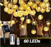 Lichtsnoer 10 m 60 LEDs Ø 2 cm warm wit Solar - USB en zonne energie - 10 meter - afstandsbediening 8 standen en dimfunctie - IP65 - buiten en binnen verlichting - tuinverlichting - feestverlichting - partyverlichting