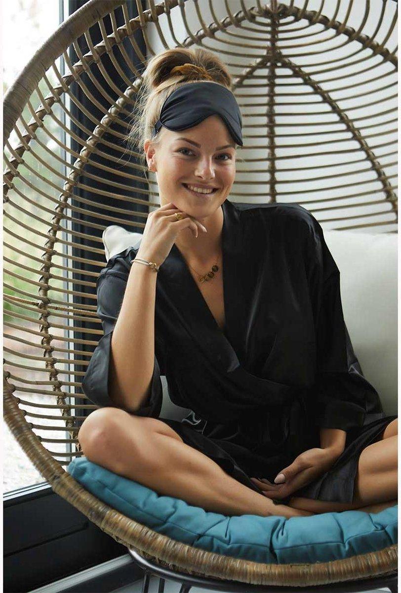 Badjas kimono satijn dames -100% polyester satijn   zwarte kamerjas - One size (36-42)