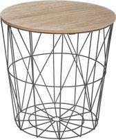Made4Home® - Bijzettafel | Salontafel | Koffietafel  | Draadmand | Zwart metaal | Hout | Bamboe | D. 39,5 x H. 41 cm | Mand |  Afneembaar deksel  | Opberg ruimte  | Multifunctioneel