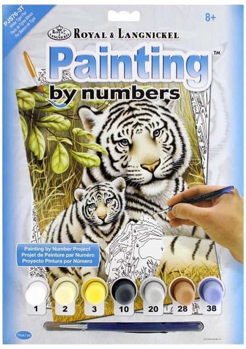 Schilderen op nummer - Paint by numbers - Dieren - Witte tijger met welpje 22x30cm - Schilderen op nummer volwassenen - Paint by numbers volwassenen