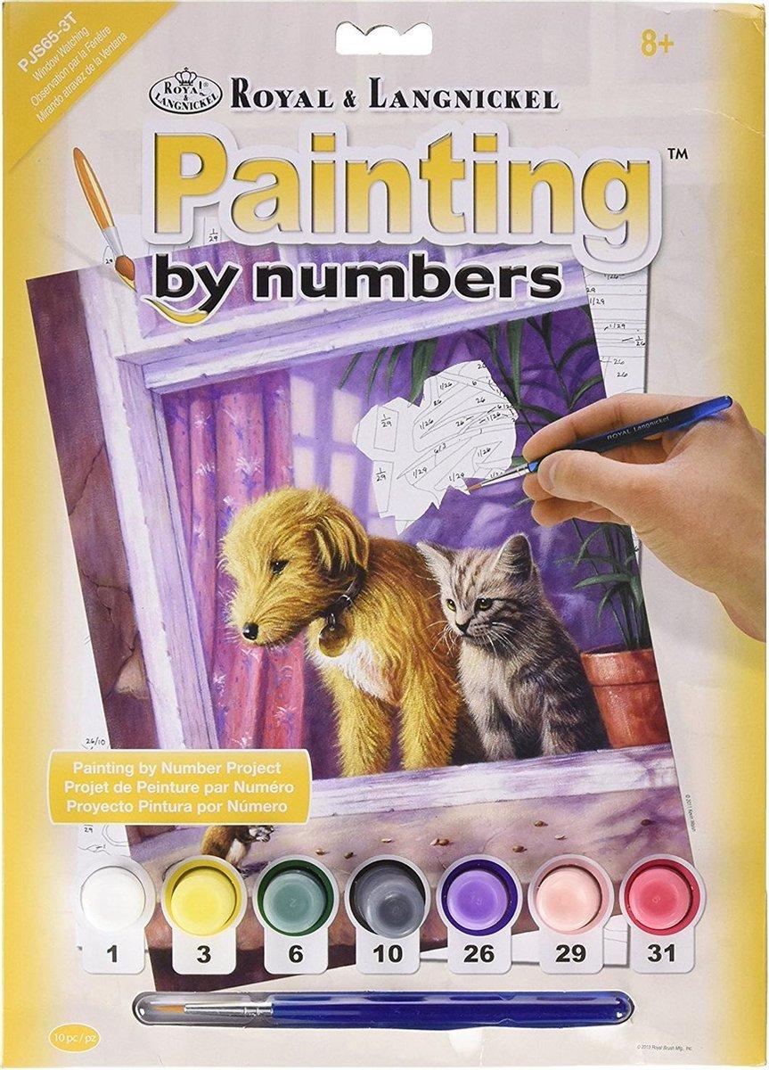 Schilderen op nummer - Paint by numbers - Dieren - Hond en poes kijken uit het raam naar een muisje 22x30cm - Schilderen op nummer volwassenen - Paint by numbers volwassenen