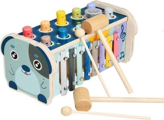 Hammie Hamster - 3 in 1 Houten Speelgoed Xylofoon - Hamerbank - Activiteiten kubus - Duurzaam
