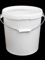 Emmer met deksel | Emmers met deksels | Wit | 20 liter | Stalen hengsel
