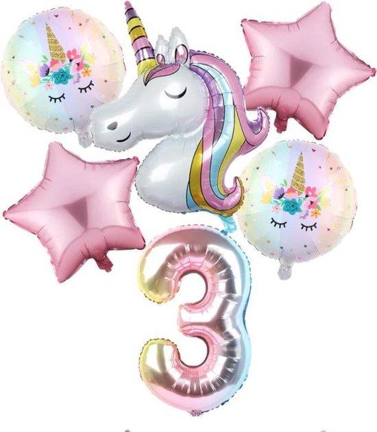 Set van 6 Stuks Unicorn / Eenhoorn ballonnen Verjaardagsfeestje Decoraties ( 3 jaar)