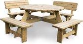 MaximaVida luxe ronde houten picknicktafel Tallinn 140 cm met 2 rugleuningen