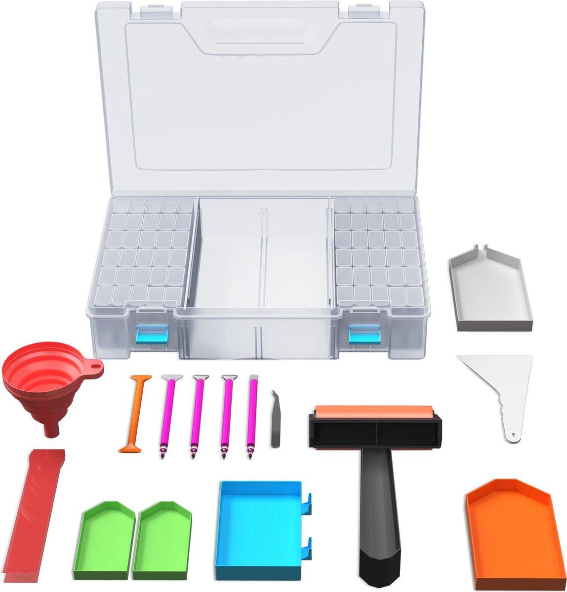 Rubye® Diamond Painting Accessoires Pakket Volwassenen - Opbergdoos 64 vakken - Roller - Pennen - Schudbakje - Starterspakket