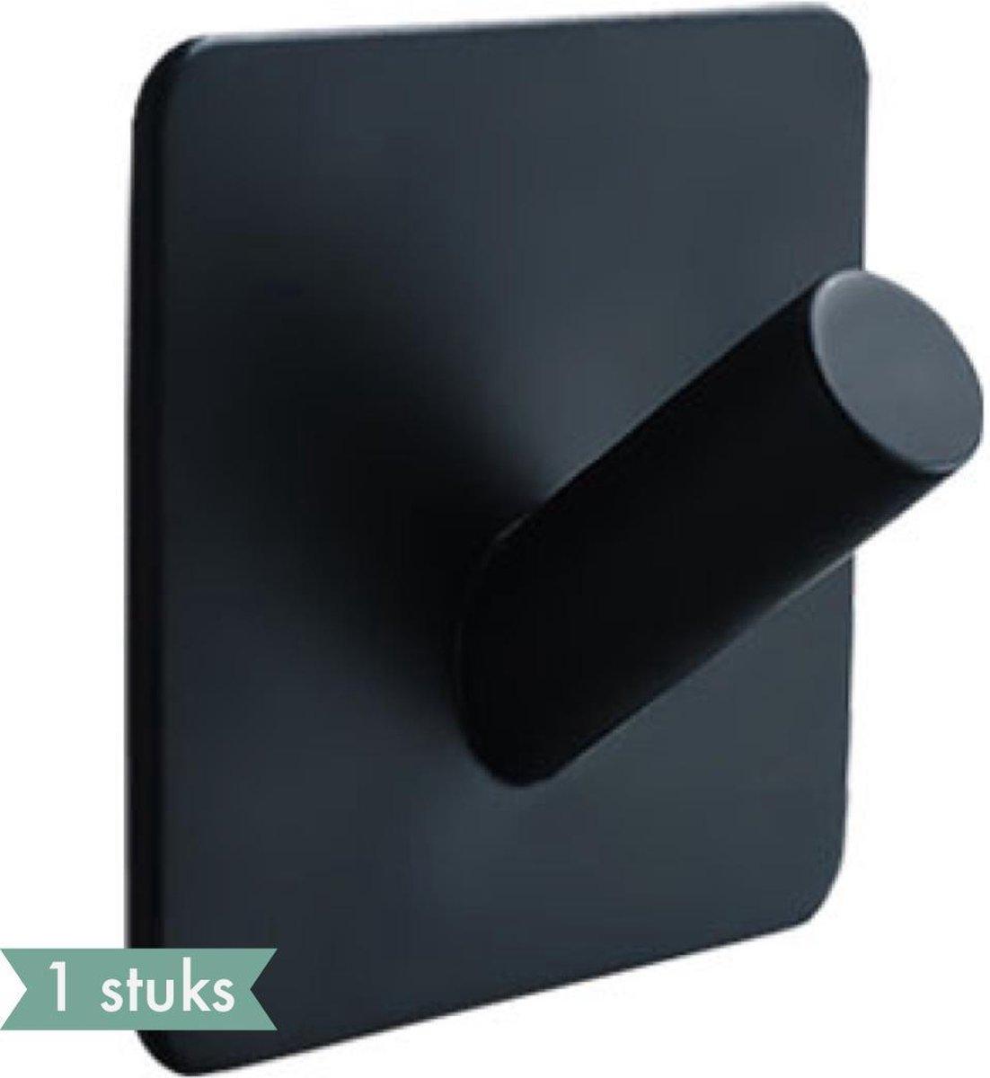 1x Handdoekhaakje (Zelfklevend) van RVS Zwart - Zelfklevende Haakjes - Wandhaak -Plakhaakjes - Handdoekhouder - Ophanghaken voor Keuken of Badkamer