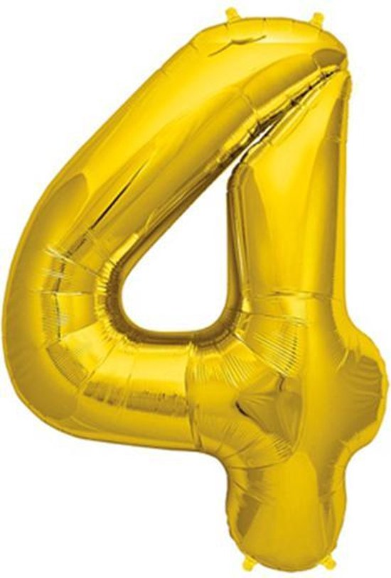 Helium ballon - Cijfer ballon - Nummer 4 - 4 jaar - Verjaardag - Goud - Gouden ballon -